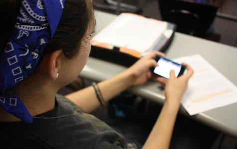 A student participates in the new BYOD program. BYOD is new this year.